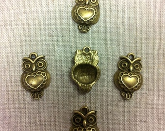 Set of 10 charms bronze metal T24 - owls