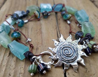 Ancient Roman Glass Bracelet and Hill Tribe Silver, Sterling Silver Spiral Sun Link Bracelet, Leather Bracelet, African Trade Beads