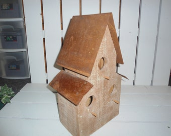 Bird House, Birdhouse, Vintage, Copper, Wood House, Rustic, Outdoor Decor, Garden Decor, French Cottage, Farmhouse, Gift for Her, Antiques