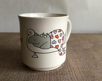 Vintage Sandra Boynton Mug - Love you More Than Chocolate, Hippo Hearts, Boyfriend Girlfriend Chocolate Lover Gift, Birthday Anniversary