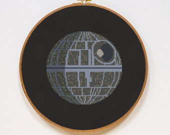 Death Star, Star Wars Cross Stitch Pattern, Modern StarWars Cross Stitch Easy Chart, PDF Format, Instant Download