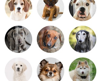 Dogs Bottlecap Images, Digital Images for Bottle Cap Pendants, 1 Inch Circles, Digital Collage Sheet