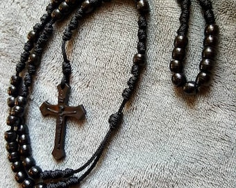 Knotted beaded Paracord Rosary, Blackout