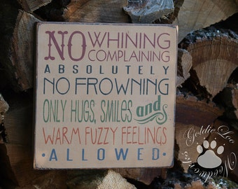 No Whining, Word Art, Primitive Wood Wall Sign, Typography, Subway Art, Handmade