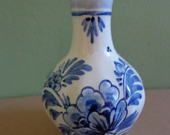 "Blue and White Delft Pottery - ""Delft Pottery de Delftse Pauw"" Posy/Bud Vase. Very Good Marks From One Of The Original Delft Factories DP."