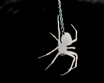 Silver Spider Necklace in stainless steel, silhouette jewelry, Y necklace, spider jewelry
