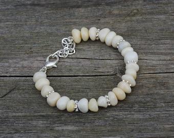 White Jade Bracelet ~  Chinese Jade Bracelet ~ Irregular White Stones ~ Boho Jewellery ~ Semi Precious ~ Healing Stones ~ Good Luck Bracelet