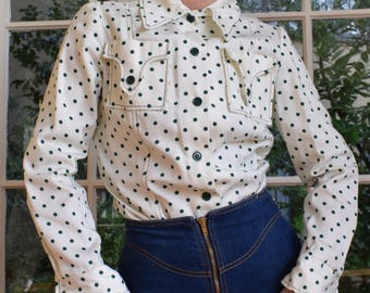 70's Western Polka Dot Button Up