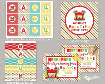 Bounce House Birthday Party, Bounce House Birthday Decorations, Printable