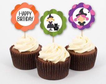 Halloween Party Cupcake Toppers and Wrappers, Witch Birthday Decoration, Halloween Birthday Cake