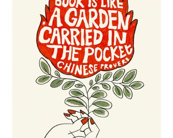 "Typography print typography wall art -  A book is like a Garden Carried in the Pocket 8.3"" X 11.8"" print - 4 for 3 Sale"