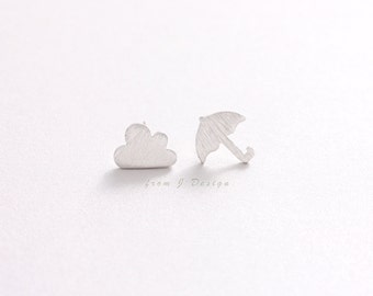 Cloud and Umbrella Stud Earrings-1pair/ last one