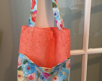 Large Coral Floral Tote