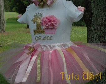 Pink and Gold 1st Birthday Girl Outfit, Princess birthday, Baby Girl First Birthday,One Year Old Tutu Birthday personalized cake smash