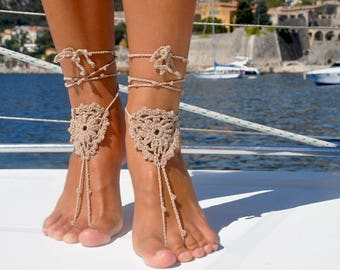 Soleless Sandals Beach Sandals Soleless Beach Shoes Beach Accessory Foot Jewelry Girlfriend Gift for Her Beige Foot Jewelry Barefoot Sandals