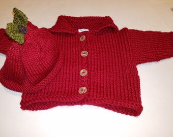 Red (Wine) Baby Cardigan, Matching Apple Hat, Gift for Baby, FREE SHIPPING Handknitted by hipknitta