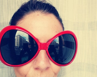 Unisex HUGE SMIRNOFF Vodka SUNGLASSES Vintage 90 Oversized xxL Pop Sunglasses Red Frame Sunglasses
