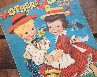 Mother Goose Picture Book Vintage 1940s Over Sized Children's Textured Book by Merrill Publishers