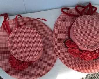 Vintage Handmade Mother and Daughter Matching Hats