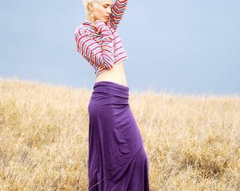 Maxi Skirt - Full Length Skirt - Purple - Eggplant  - Organic Clothing - Skirt for Women