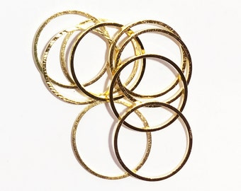 10 pcs of Gold plated brass round connector rings 20mm, 1mm thick