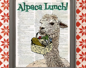 Alpaca Lunch! Funny animal art poster Sarcastic Gift for Her Gift for Mom Gift for Women unique home kitchen wall art decor kitchen sign