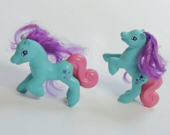 2 Vintage My Little Pony Toys - Plastic MLP My Little Pony IVY Dolls, Blue Purple Pink Small Horse Toys, Retro Cartoon Toy, Cake Toppers
