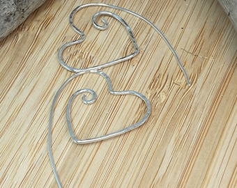 Sterling silver small hammered heart spiral hoops