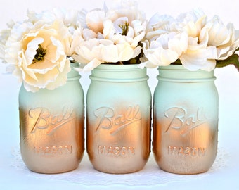 Mason Jars Bulk, Gold Mason Jars, Mint Decor, Painted Mason Jars, Dorm Decor, Spring Decor, Spring Centerpiece, Wedding Jars, Mason Jar Deco
