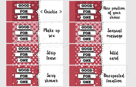 Naughty Coupon Book - 16 printable coupons for Boyfriend / Girlfriend,  Anniversary. DIY Valentines Gift for Him - Gift for Her PDF