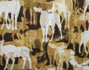 Spirit Animal Moose Deer Tan Brown Cotton Fabric Fat Quarter or Custom Listing