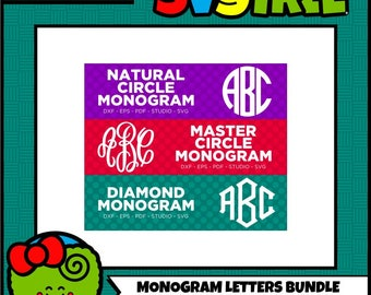 Master Circle SVG Circle Monogram SVG Diamond Monogram SVG Commercial Free Cricut Files Silhouette Files Cut File Bundle Fancy Circle svg