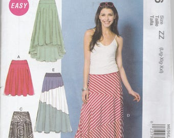 McCalls 6966 Vintage Pattern Womens Skirt in 5 Variations Size Lg, X Lg, XX Lg UNCUT