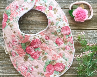 Pink Floral Quilted Minky Bib - Baby Bib - Vintage Style Teething Bib - Baby Gift - Cottage Chic Farmhouse Style Shabby Chic Flower Print