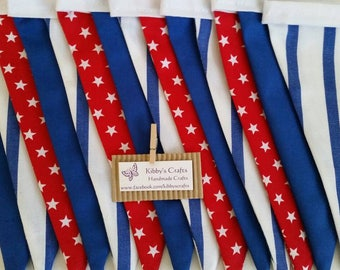 Fabric bunting flags red, blue and white-stars and stripes