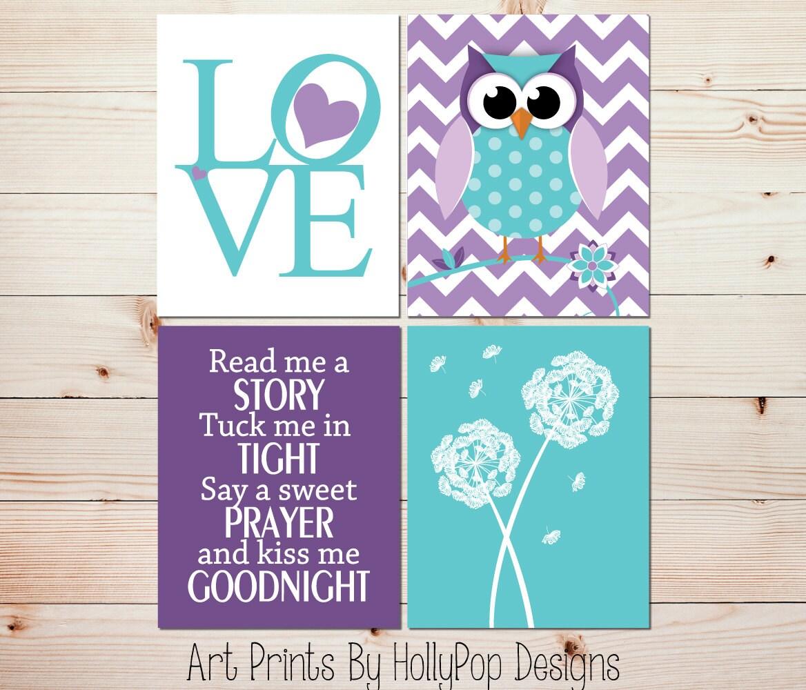 Toddler Girl Bedroom Art LOVE Print Purple Owl Nursery Art