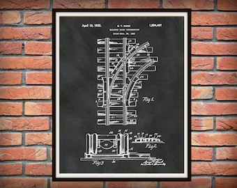 1932 Railroad Tracks Patent Print  - Train Tracks Poster - Locomotive Decor - Railway Station Decor - Railroad Decor - Train Collector Gift