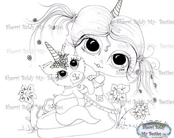 INSTANT DOWNLOAD Digital Digi Stamps Big Eye Big Head Dolls Bestie New Bestie Unicorn  Img391 My Besties By Sherri Baldy