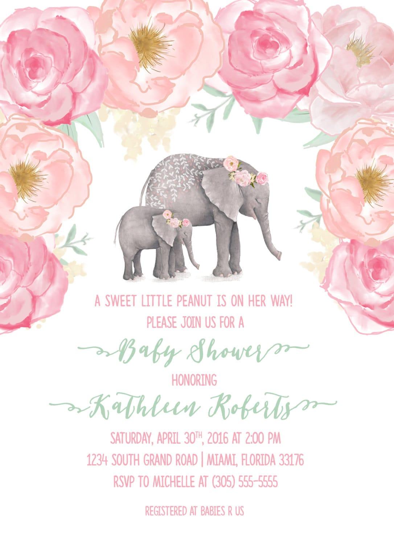Pink Elephant Baby Shower Invitation, Boho Baby Shower, Floral Girl ...