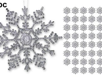 Silver Snowflake Christmas Ornaments - Pack of 48 - 4 inch Hanging Snowflakes with Strings - Snowflake Ornaments   3541