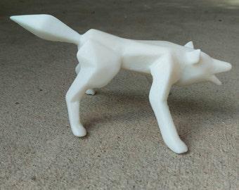 Geometric cast wolf figurine