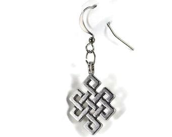 Celtic Knot Silver Dangle Earrings