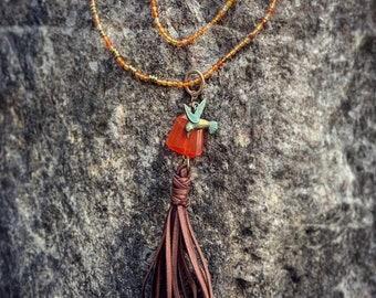 Agate Beaded Hummingbird Necklace