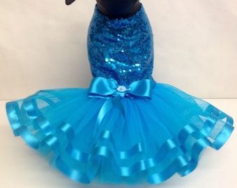 Dog dress turquoise sequinned tu tu party dress for small breed dogs