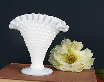Small Hobnail Milk Glass Footed Fan Shaped Vase - Vintage Milk Glass