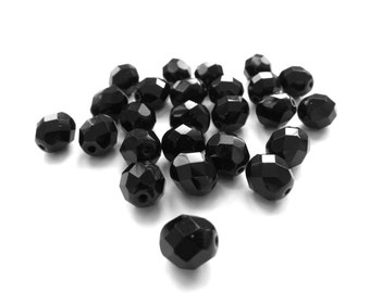Jet Black Faceted Czech Glass Round Beads, 8mm - 25 pieces