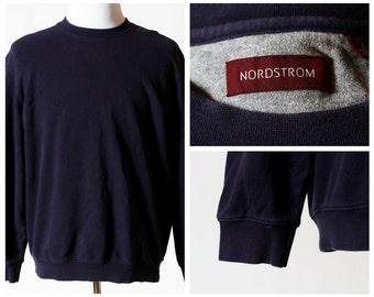 Vintage Men's Sweatshirt - Nordstrom 90s Retro Navy Blue Large L Shirt Long Sleeve