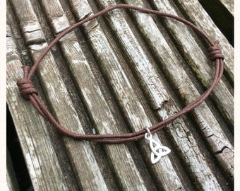 Brown Cord Triquetra Charm Anklet