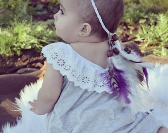 Boho Baby Feather Headband, Feather Headdress, Feather Halo - ORCHID
