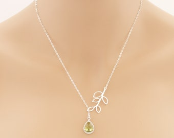 Peridot Lariat Leaf Necklace, Peridot Lariat Necklace, August Birthstone, Wedding Jewelry, Peridot Jewelry, Lariat Necklace, For Her, BeadXS